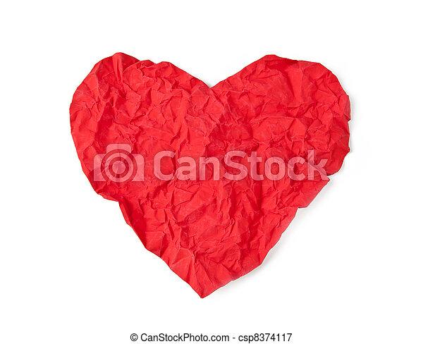 Red crumple paper heart - csp8374117