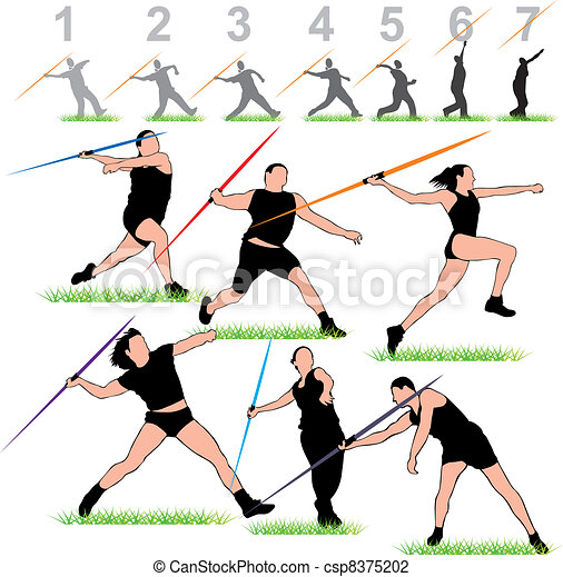 Javelin Athletes Set  - csp8375202