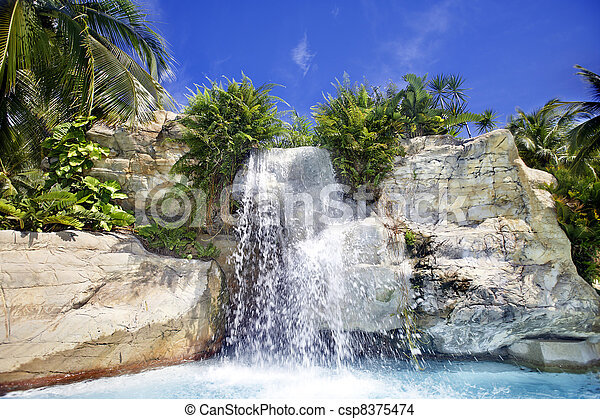 Mountain waterfall in malaysia rainforest. - csp8375474
