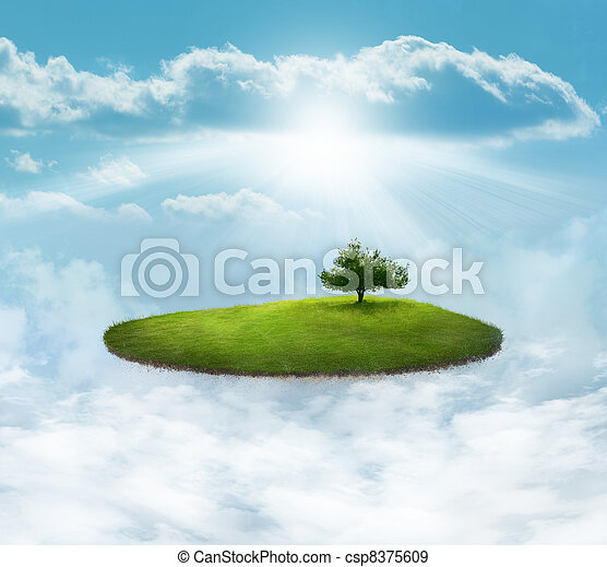 Floating Island with tree - csp8375609