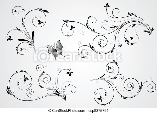 Set of floral swirl designs - csp8375794
