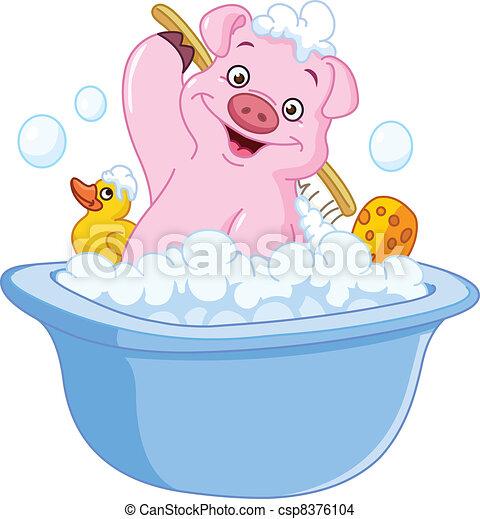 Pig taking a bath - csp8376104