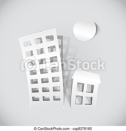 real estate symbols made of paper  - csp8376160