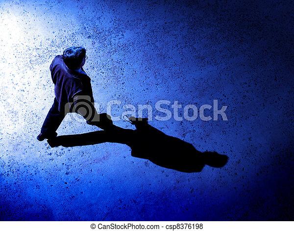Man Alone at Night on Street - csp8376198