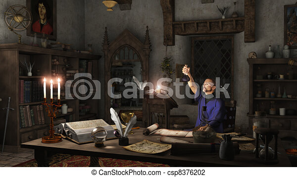 Alchemist in his Study - csp8376202