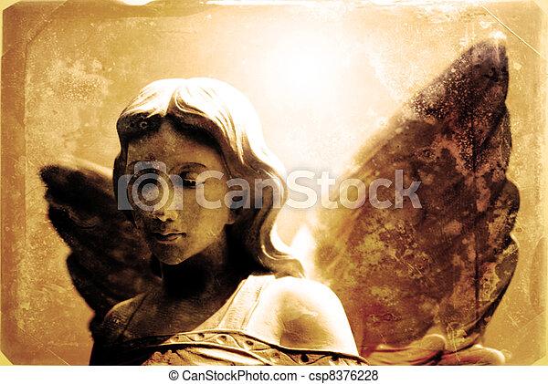 Vintage Photograph of Angel Statue - csp8376228