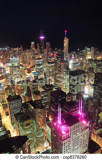 Chicago night aerial view - csp8376260