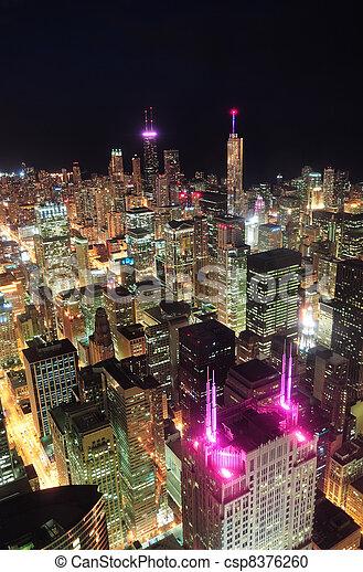 Chicago night aerial view - csp8376260