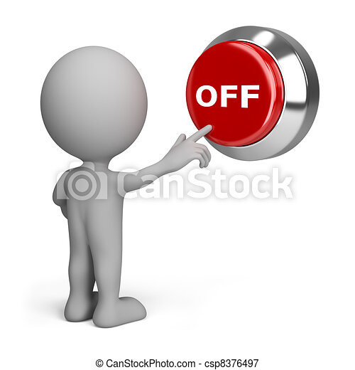 3d person pressing the button off - csp8376497