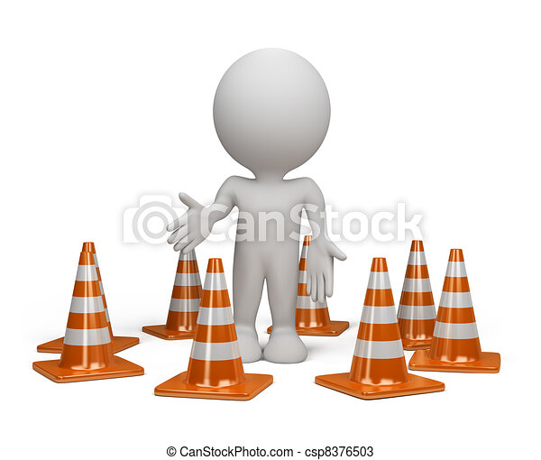 3d person with a traffic cone - csp8376503