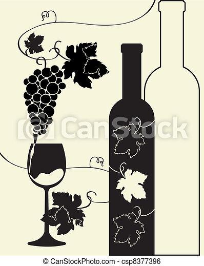 clip art vektor von glas flasche trauben wein flasche. Black Bedroom Furniture Sets. Home Design Ideas
