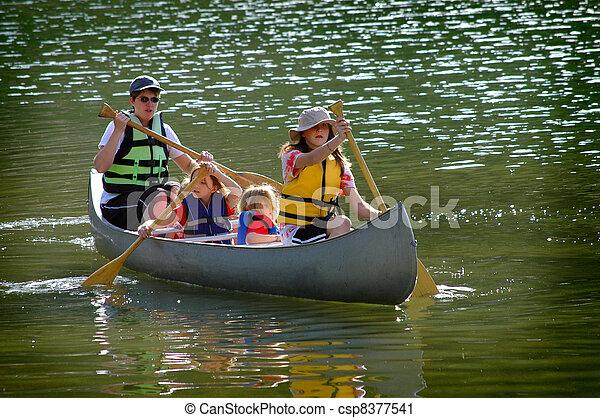 Family Canoeing at Lake - csp8377541