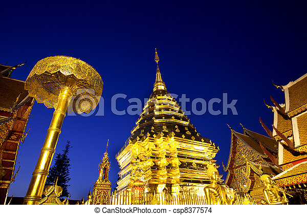 Golden pagoda at Doi suthap - csp8377574