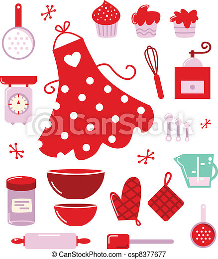 Icons or accessories for housewife isolated on white - csp8377677