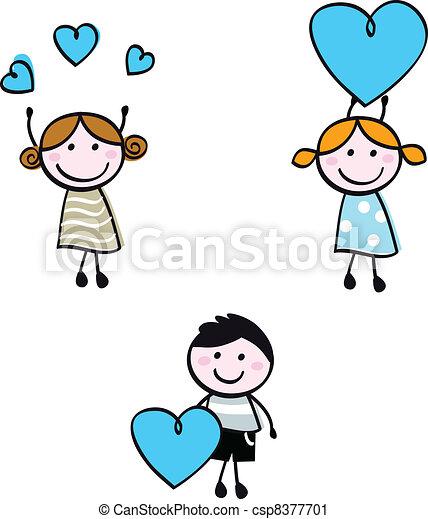 corazón, niños, garabato, figuras, palo, banderas - csp8377701