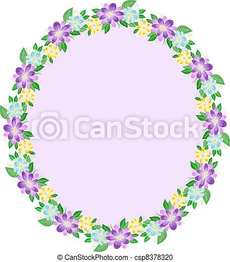 Floral oval frame - csp8378320