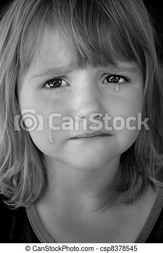 Little Girl Crying with Tears - csp8378545