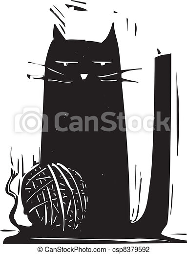 Vector Illustration of Ball of Yarn - Simple black cat with a ball ...