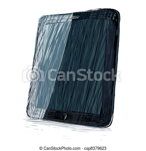 Digital pad vector illustration. All colors and layers editable, for example, labels can be placed in the upper layer in overlay mode - csp8379623