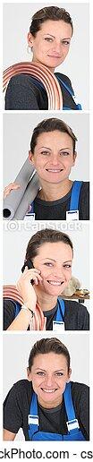 snapshots of smiling craftswoman wearing blue overalls - csp8379796