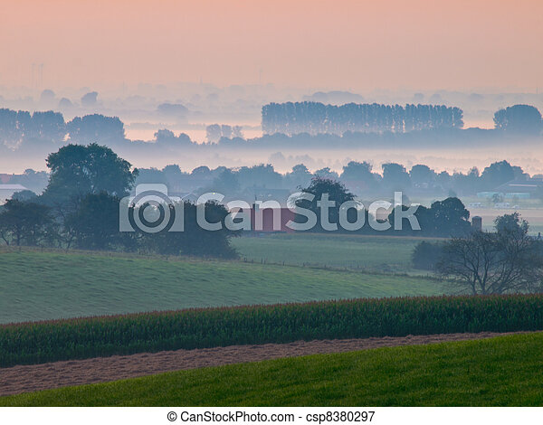 Sunrise over dutch rural hills - csp8380297