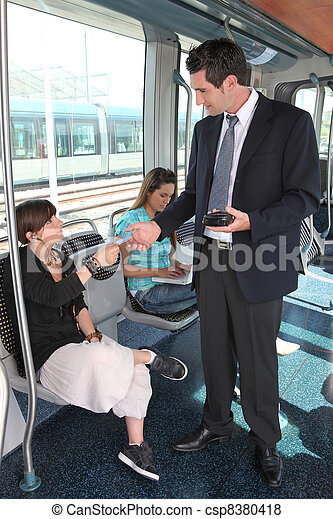 ticket collector in tramway - csp8380418