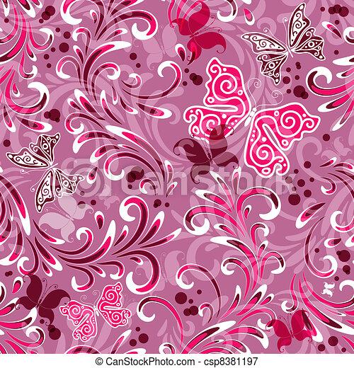 Pink seamless floral pattern - csp8381197