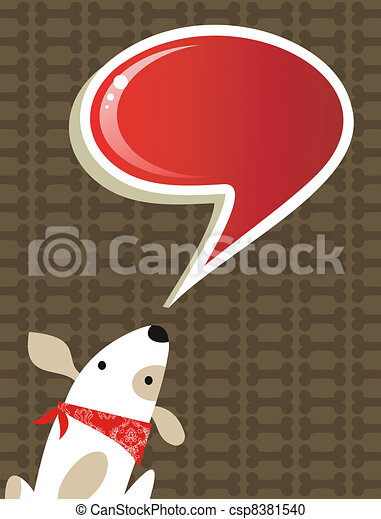 Social dog with chat bubble - csp8381540