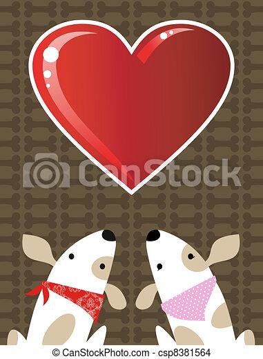 Valentines dog love background - csp8381564