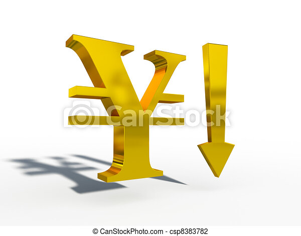 JPY Japanese yen up down course 3d  - csp8383782