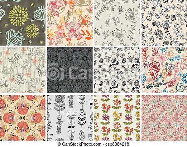 set of different flowers seamless pattern - csp8384218