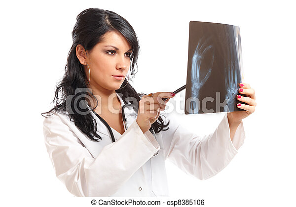 Medicine woman doctor with x-ray - csp8385106