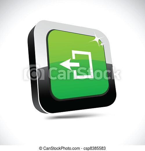 Exit 3d square button. - csp8385583