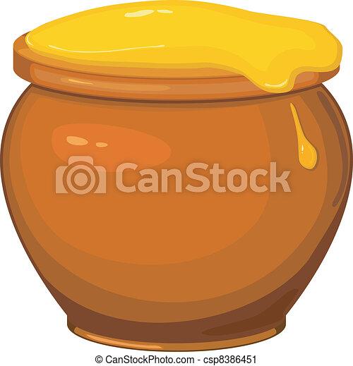 Vector illustration of cartoon pot of honey - csp8386451