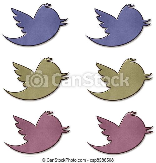 Earth tone Twitter Bird Set - csp8386508