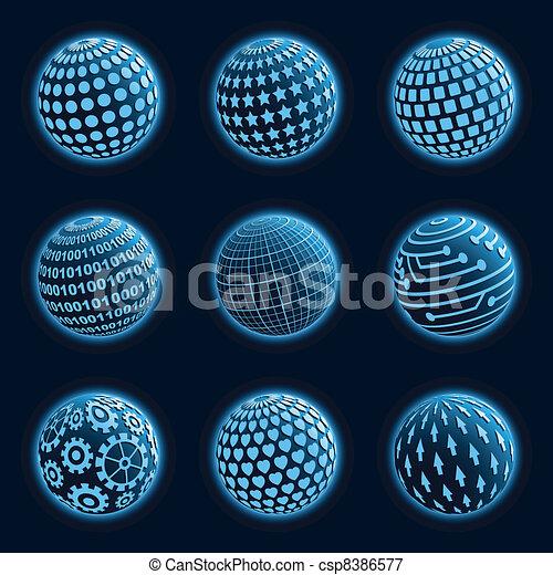 Blue planet icons set.  - csp8386577