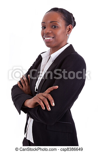 Smiling african american businesswoman with folded arms - csp8386649