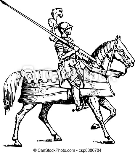 Medieval Knight On Horse Drawing Knight riding horse on white