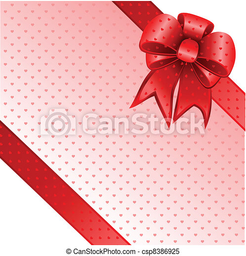 Red gift bow card note vector - csp8386925