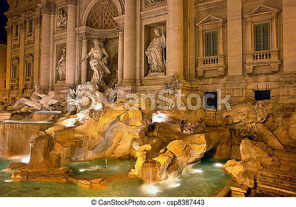 Fountain di Trevi - most famous Rome's fountains in the world. Italy. Night scene. - csp8387443