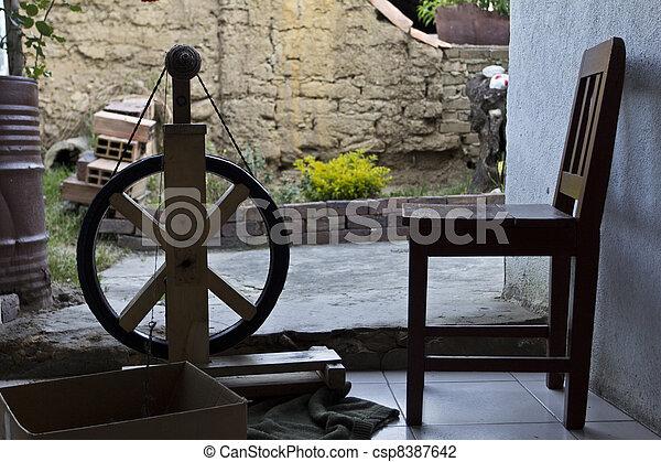 máquina, Girar, lana - csp8387642