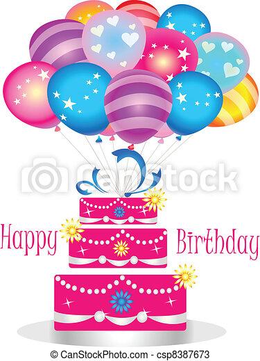 Happy birthday cake with balloons - csp8387673