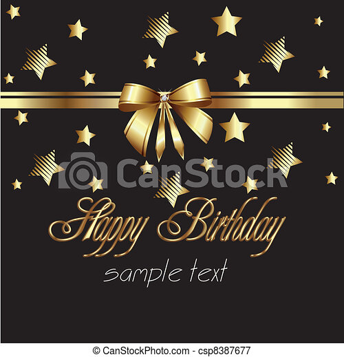 happy birthday ribbon gold card - csp8387677