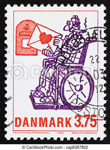 DENMARK - CIRCA 1992: a stamp printed in the Denmark shows Love Letter, by Phillip Stein Jonsson, circa 1992 - csp8387802
