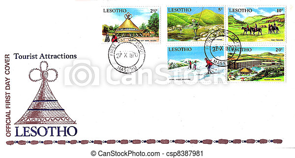 Stamp 1st Day Issue Lesotho Tourist Attractions 1970 - csp8387981