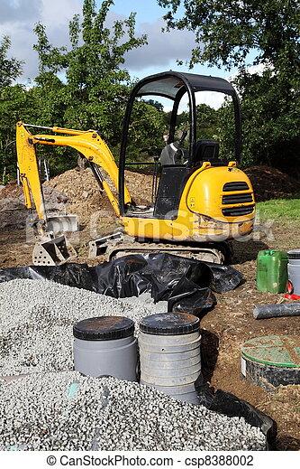 Mini Digger Installing Sand Filter - csp8388002