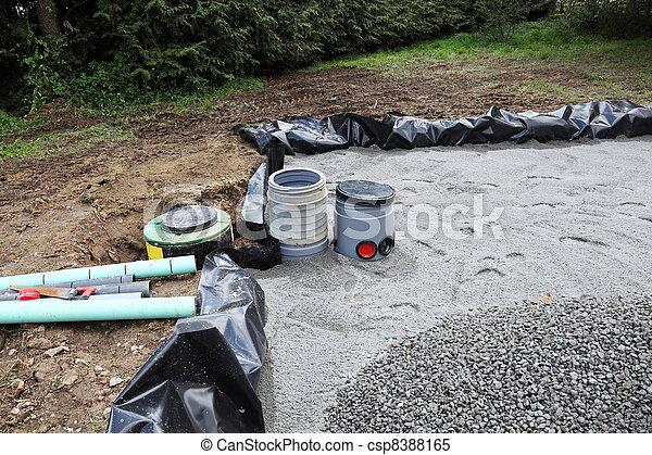 Areia, filtro, Instalação, para, esgoto - csp8388165