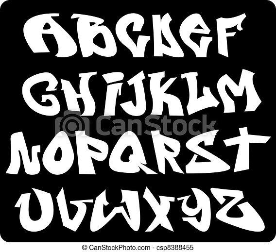 Vecteur clipart de graffiti police lettres abc alphabet graffiti police csp8388455 - Lettre graffiti alphabet ...