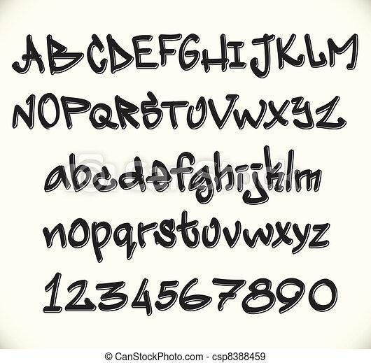 Graffiti font alphabet, abc letters - csp8388459