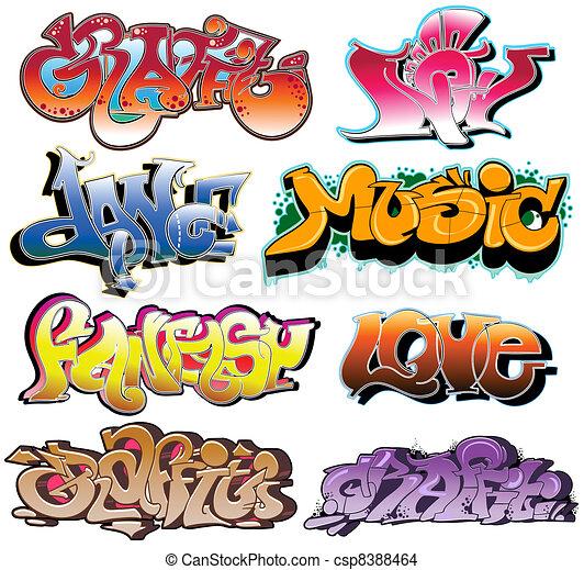 Graffiti urban art vector set - csp8388464